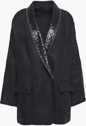 Brunello Cucinelli Embellished Satin-trimmed Linen-twill Blazer