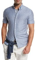 Brunello Cucinelli Striped Short-Sleeve Leisure Sport Shirt, Light Blue