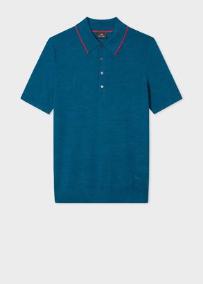 Paul Smith Men's Blue Marl Merino Wool Polo Shirt