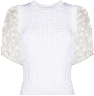 Cecilie Bahnsen Organza Applique Knitted Top