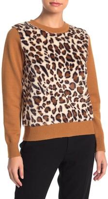 Catherine Malandrino Leopard Faux Fur Panel Knit Pullover Sweater (Petite)