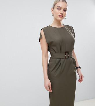 Asos DESIGN Petite split cap sleeve midi pencil dress with buckle-Green