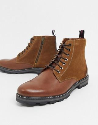 Ben Sherman lace up ankle boots in tan leather suede mix