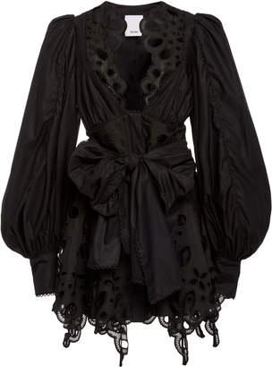 Acler Vicount Tie-Front Cotton Broderie-Anglaise Dress