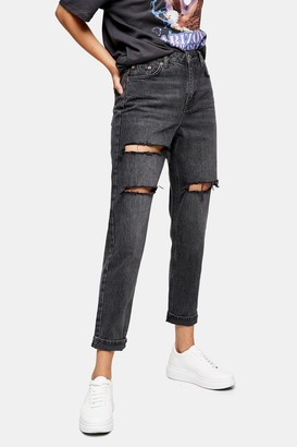 Topshop Womens Washed Black Peach Mom Tapered Jeans - Washed Black