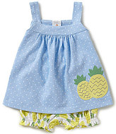 Starting Out Baby Girls Newborn-24 Months Pineapple-Applique Dotted Top & Printed Shorts Set