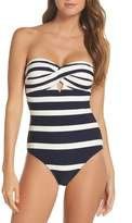 Ted Baker Texture Stripe One-Piece Bandeau Swimsuit