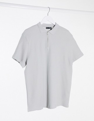 ASOS DESIGN short sleeve polo in waffle with zip in grey