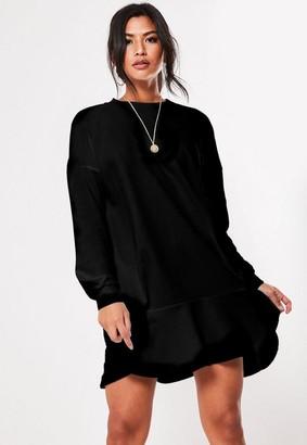 Missguided Black Frill Hem Sweatshirt Dress