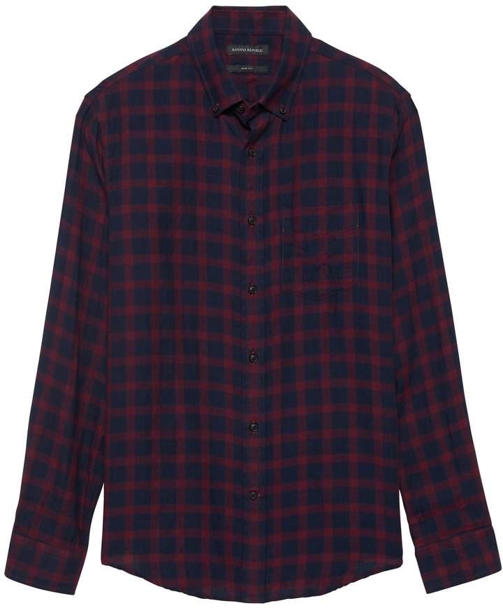 c92ce14574 Slim-Fit Crinkle Cotton Flannel Shirt