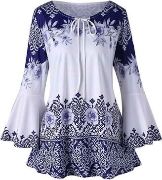 Lazzboy Women Lazzboy Shirt Top Women Boho Ethnic Lace-up Neck Long Flare Sleeve Tunic UK 6-20 Oversized Ladies Beach Daily Blouse Plus Size(5XL(20)