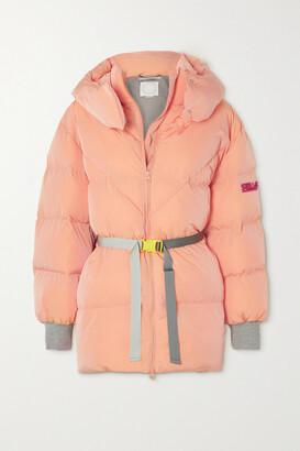 Stella McCartney - Kayla Belted Hooded Quilted Shell Coat - Orange