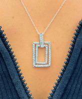 Swarovski Sevil 925 Women's Necklaces - Sterling Silver Tiered Rectangle Pendant Necklace With Crystals