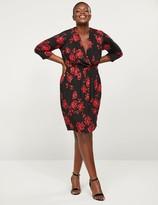 Lane Bryant Floral Faux-Wrap Fit & Flare Dress