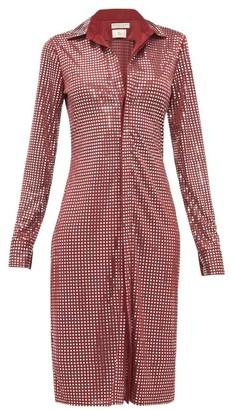 Bottega Veneta Mirror-embellished Satin-jersey Shirtdress - Womens - Burgundy