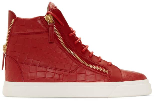 Giuseppe Zanotti Red Croc May London High-Top Sneakers