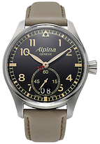 Alpina Al-280bgr4s6 Startimer Pilot Date Leather Strap Watch, Cream/black