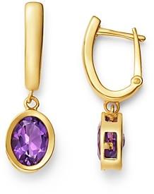 Bloomingdale's Amethyst Bezel Hinged Hoop Earrings in 14K Yellow Gold - 100% Exclusive