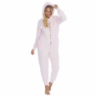 Style It Up Womens Ladies Plain Pink Borg Hooded 1Onesie Cuffed Zipped Soft Cosy Warm Snuggle Loungewear All in One Piece