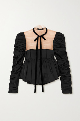 KHAITE Fanny Tie-detailed Ruched Satin And Tulle Top - Black