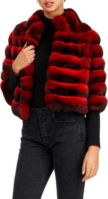 Gorski Chevron Pattern Chinchilla Fur 3/4 Sleeve Jacket