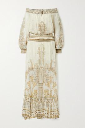 Camilla Off-the-shoulder Crystal-embellished Printed Silk-crepon Maxi Dress - Ivory