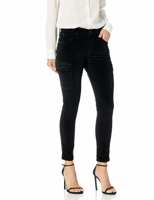 James Jeans Women's J Twiggy Ankle Length Cargo Velveteen Legging in Black Vel