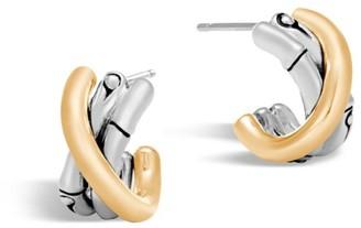 John Hardy Bamboo 18K Yellow Gold & Sterling Silver J Hoop Earrings