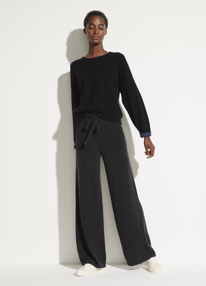 Wool Cashmere Wide Leg Pull On Pant