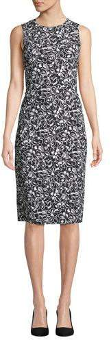Michael Kors Sleeveless Crewneck Floral-Print Stretch-Cady Sheath Dress