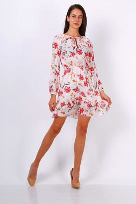 Lilura London White Floral Print Tie Neck Shift Dress