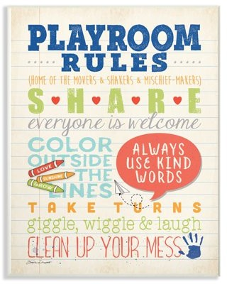 The Kids Room by Stupell Playroom Rules Notebook Paper Wall Plaque Art, 10 x 0.5 x 15