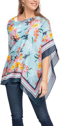 Spartina 449 Women's Ponchos - Blue & Pink Floral Luau Scarf Linen-Blend Poncho