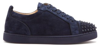 Christian Louboutin Louis Junior Spike-embellished Suede Trainers - Navy