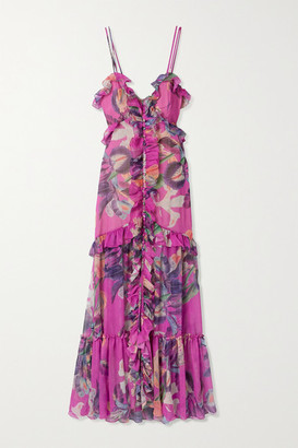 PatBO Grace Ruffled Floral-print Chiffon Maxi Dress - Magenta