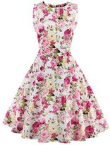 Soficy Vintage 1950's Floral Spring Garden Picnic Party Cocktail Swing Dress 4XL