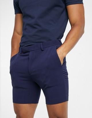 ASOS DESIGN super skinny smart shorts in navy