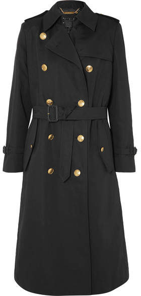 Givenchy Belted Double-breasted Cotton And Linen-blend Twill Coat - Black