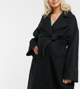 ASOS DESIGN Maternity belted slouchy coat in black