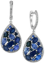Effy Sapphire (3-7/8 ct. t.w.) and Diamond (2/5 ct. t.w.) Drop Earrings in 14k White Gold