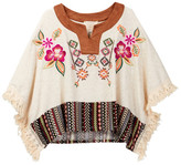 Hannah Banana Embroidered Poncho With Faux Leather Detail (Big Girls)