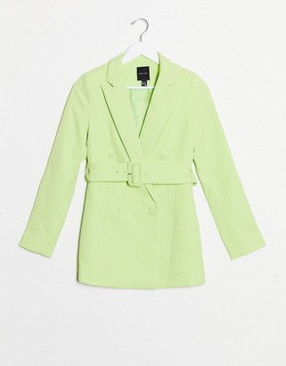 New Look belted blazer in lime co ord