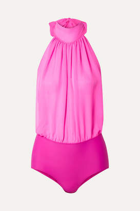 Emilio Pucci Gathered Silk-chiffon And Stretch-jersey Halterneck Bodysuit - Fuchsia