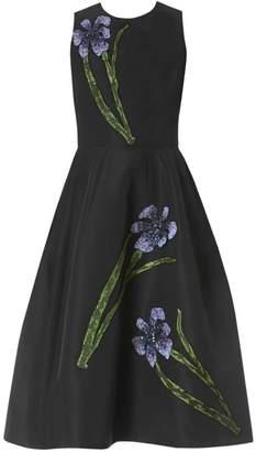 Carolina Herrera Floral Embellished Silk Fit-&-Flare Dress