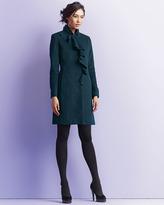DKNY Asymmetric-Ruffle 3/4-Length Coat