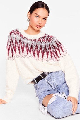 Nasty Gal Womens Feliz Navidad Fair Isle Christmas Jumper - Red - L