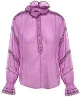 Etoile Isabel Marant Louna Embroidered Cotton-voile Blouse