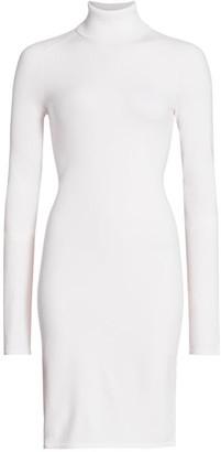 Helmut Lang Compact Wool Turtleneck Long-Sleeve Dress