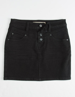 Vanilla Star Exposed Button Black Girls Denim Skirt
