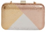 Whiting & Davis Color Block Mesh Box Clutch - Metallic
